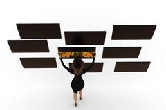3d woman grabbing work board concept - stock illustration