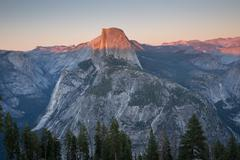 Famous Half Dome and surrounding views, Sunset Stock Photos