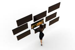 3d woman grabbing work board concept Stock Illustration
