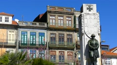 Homage first world war at city square in Porto Portugal Stock Footage