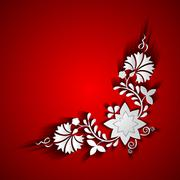 Abstract paper floral ornament on red background - stock illustration
