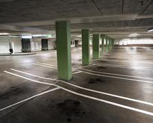 indoor carpark - stock photo