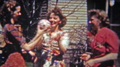 1955: Ladies tossing a ball popular game of the time. Stock Footage