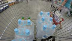 supermarket shopping trolley motion 4K timelapse hyperlapse - stock footage