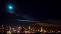Timelapse with the first phase of a lunar eclipse Stock Footage