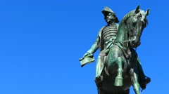 King Pedro IV of Portugal, monument in Porto Portugal - stock footage