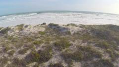 Aerial Shot Over Sand Bank Beach Ocean Crashing Waves Drone Footage Stock Footage
