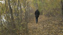 4k Woman Walking Through Woodland Path Autumn Leaves River Side Forest Nature Stock Footage