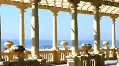 Portugalese promenade and Atlantic ocean - stock footage