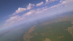 Flight like airplane view under clouds at  height of 1500 meters  with turn. Ae Stock Footage