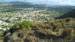 An aerial shot reveals the California coastal city of Ventura. Stock Footage