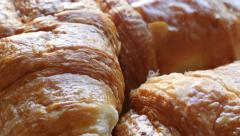 French croissants  Vienna-style pastry rolls made of dough slow tilt 4K 2160p Stock Footage