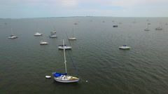 Sail boats in the bay aerial video 3 - stock footage