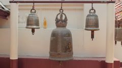 3 Bells Hanging In Thai Buddhist Temple Religious Worship Monument Stock Footage