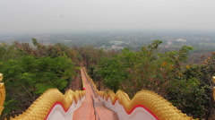 Thai Mountain Staircase Along Forest To Buddhist Temple City View Tropical Trees Stock Footage