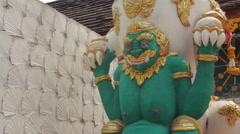 Buddhist Demon Protection Statue Thai Temple Religious Worship Monument Stock Footage