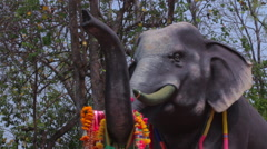 Thai Elephant Protection Buddhist Statue Outside Temple Religious Monument Trees Stock Footage