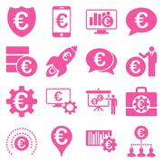 Euro banking business and service tools icons Piirros