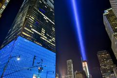 September 11th Tribute in light - New York City. - stock photo