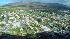 An aerial shot reveals the California coastal city of Ventura. Stock Footage