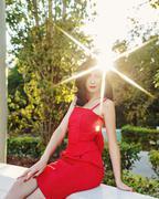 Girl in art deco style. Retro portrait. - stock photo