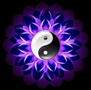 bright lotus yin yang - stock illustration