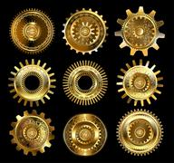 Set of complex gears Stock Illustration