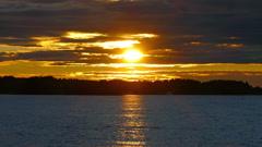 Sunset on Lake Onega, Karelia Stock Footage