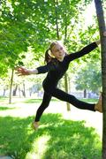 fun kid outdoor workout - stock photo
