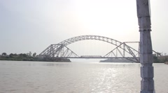 Sukkur Barrage bridge on indus river Stock Footage