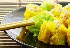 close up stream dim sum chinese food cooking dim sum concept - stock photo