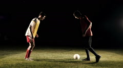 Duel Of Football Players At Soccer Slow Motion - stock footage