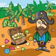 Fun cartoon pirate with treasure Piirros