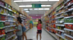 Blur image shopping moving through store - stock footage