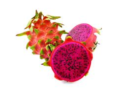 Stock Photo of red dragon fruit cut in half with high nutrient good for health on white back
