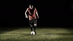 Soccer Player Doing Kick With Ball Slow Motion - stock footage