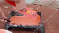 Paint-Roller And Tray With Paint Stock Footage