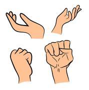 Image of cartoon human hand gesture set. Vector illustration isolated on whit - stock illustration