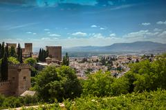 View to Granada city from Alhambra, Andalusia, Spain - stock photo