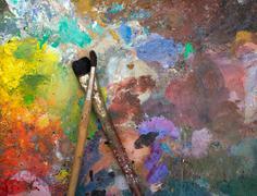 Artistic paintbrushes Stock Photos