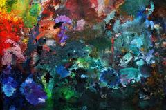 Oil-paint palette - stock photo