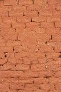 Stock Photo of Earthen Wall Built with Adobe
