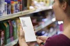 Woman Reading Shopping List In Supermarket Stock Photos