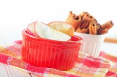 cinnamon and apples - stock photo