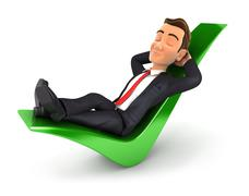 3d businessman relaxed on a check mark Stock Illustration