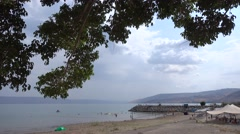 Sea of Galilee view with tree branch Stock Footage