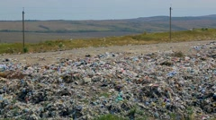 Pile Of Domestic Garbage At Urban Dump Stock Footage