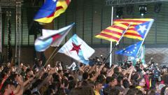 Catalan Crowd Secessionist Process Politics Stock Footage