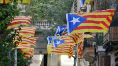 Secessionist Independence Catalonian Flagstaff in a Windy Day Stock Footage