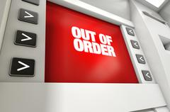 Stock Illustration of ATM Screen Out Of Order